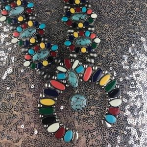Jewelry - Western Faux Turquoise Squash Blossom Necklace